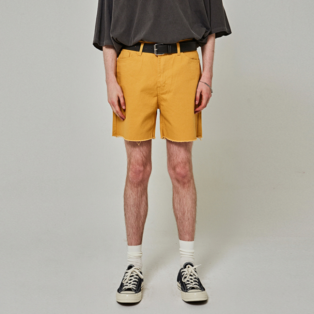 [YAN13] CUTTING COTTON SHORTS_MUSTARD