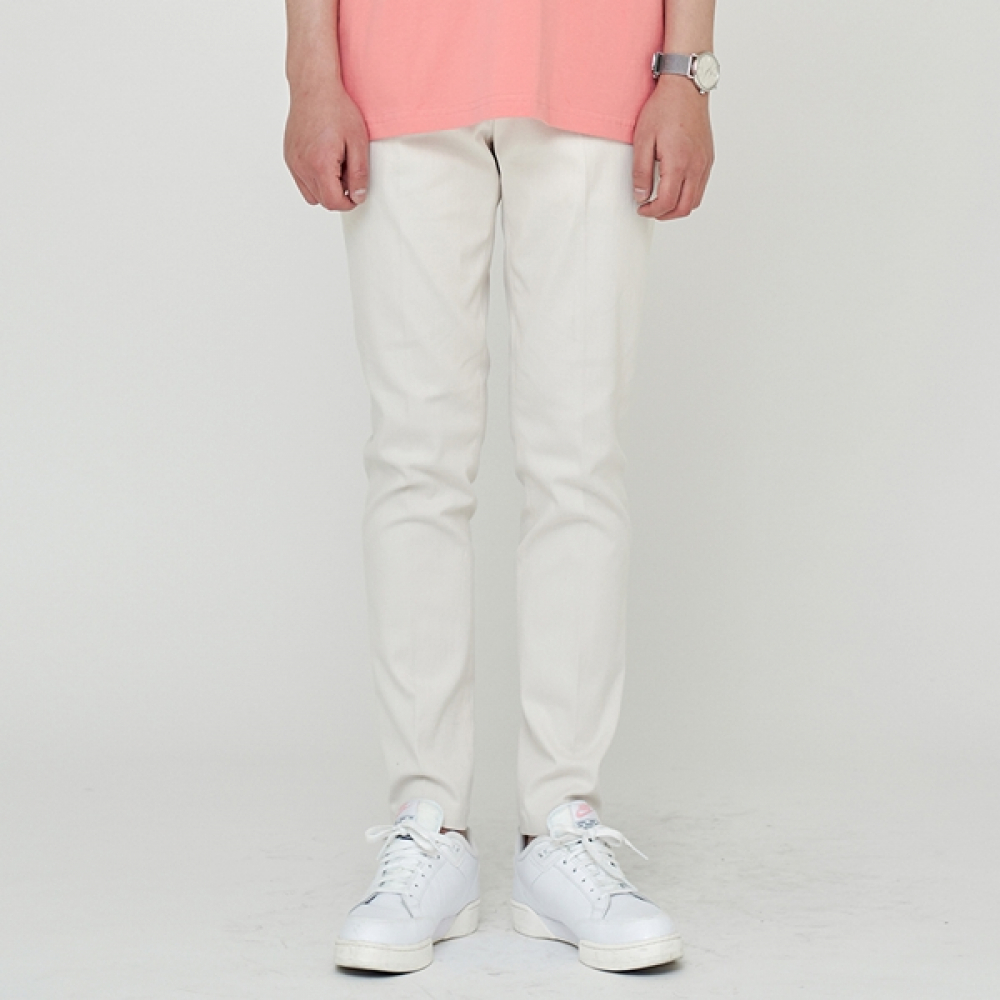 STRAIGHT FIT BANDING SLACKS CREAM