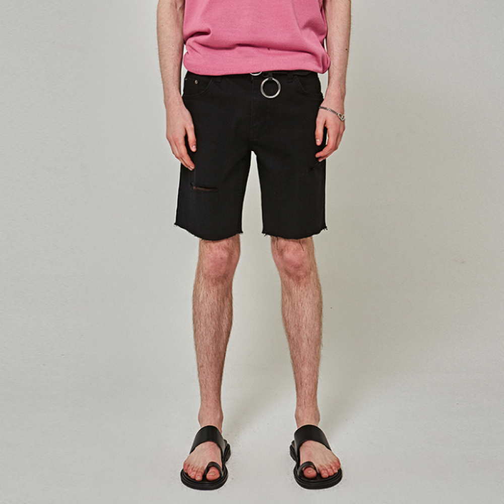 [YAN13] SCRATCH CUTTING SHORTS_BLACK