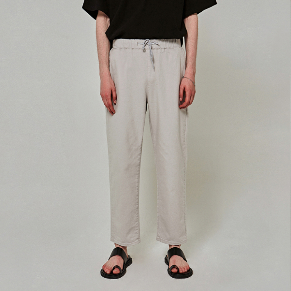[얀써틴] WIDE BANDING COTTON PANTS_LIGHT GRAY