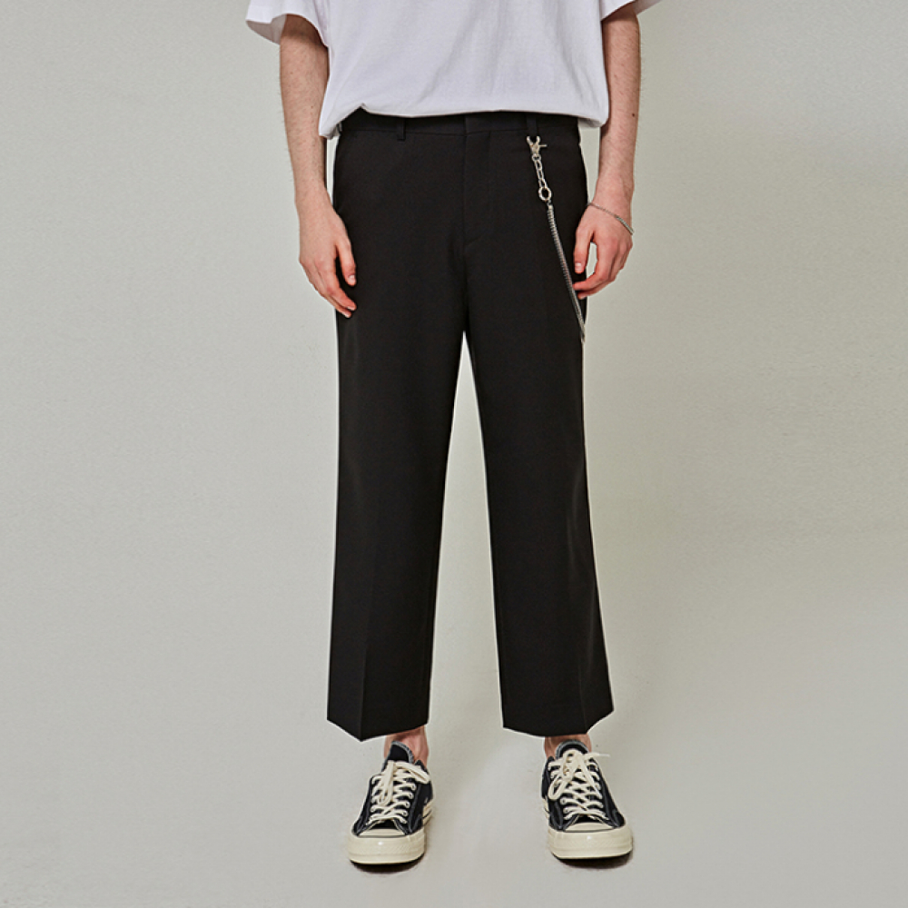 [얀써틴] MINIMAL WIDE CROP SLACKS_BLACK
