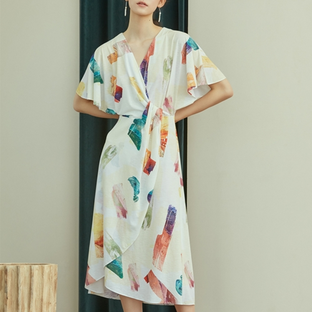 [블리다][6/11예약배송] color brush wrap dress