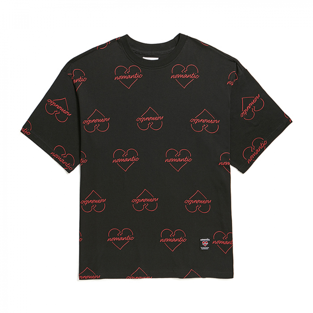[비욘드클로젯] NOMANTIC HEART PATTERN 1/2 T-SHIRTS BLACK
