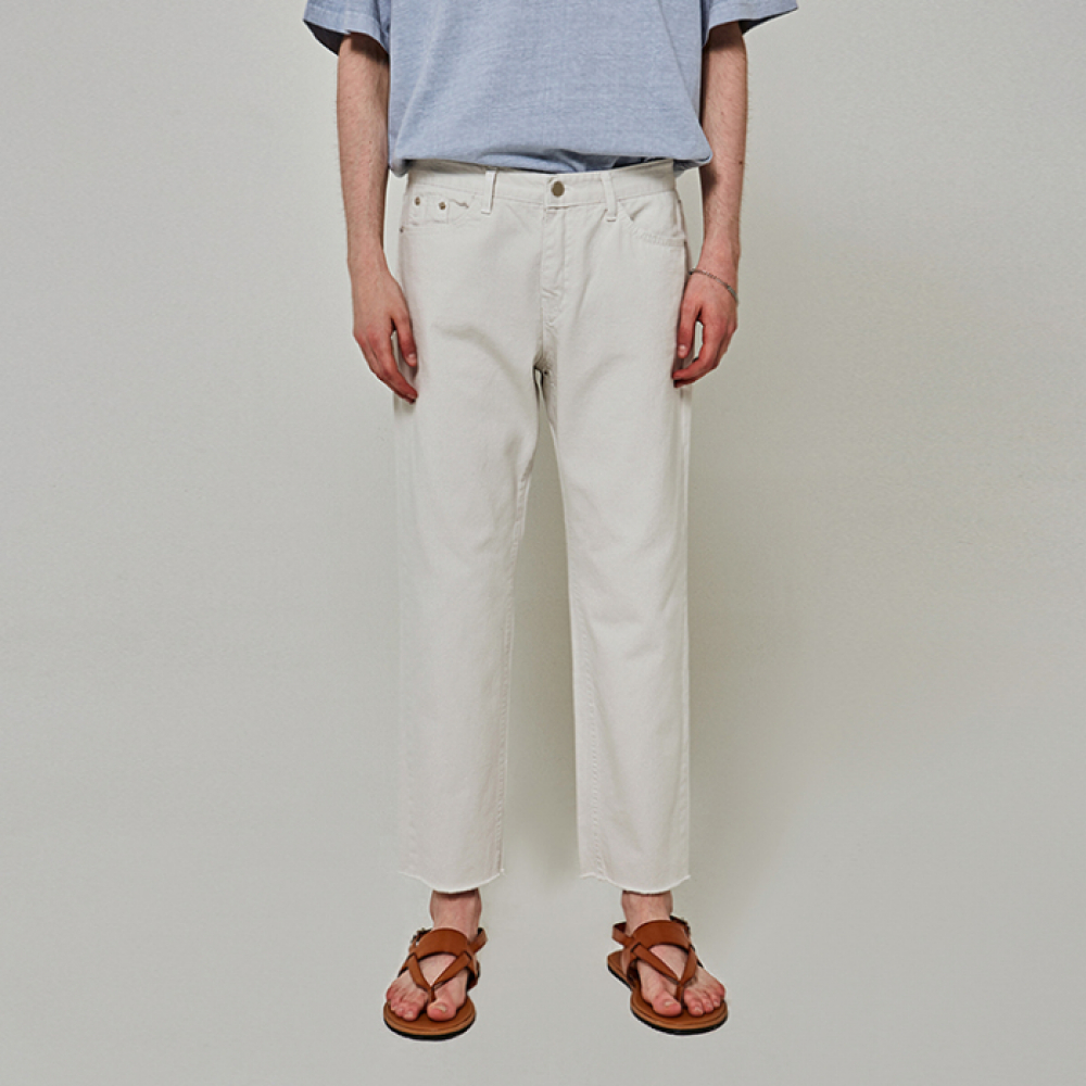 [얀써틴] OVER STRAIGHT COTTON PANTS_LIGHT GRAY