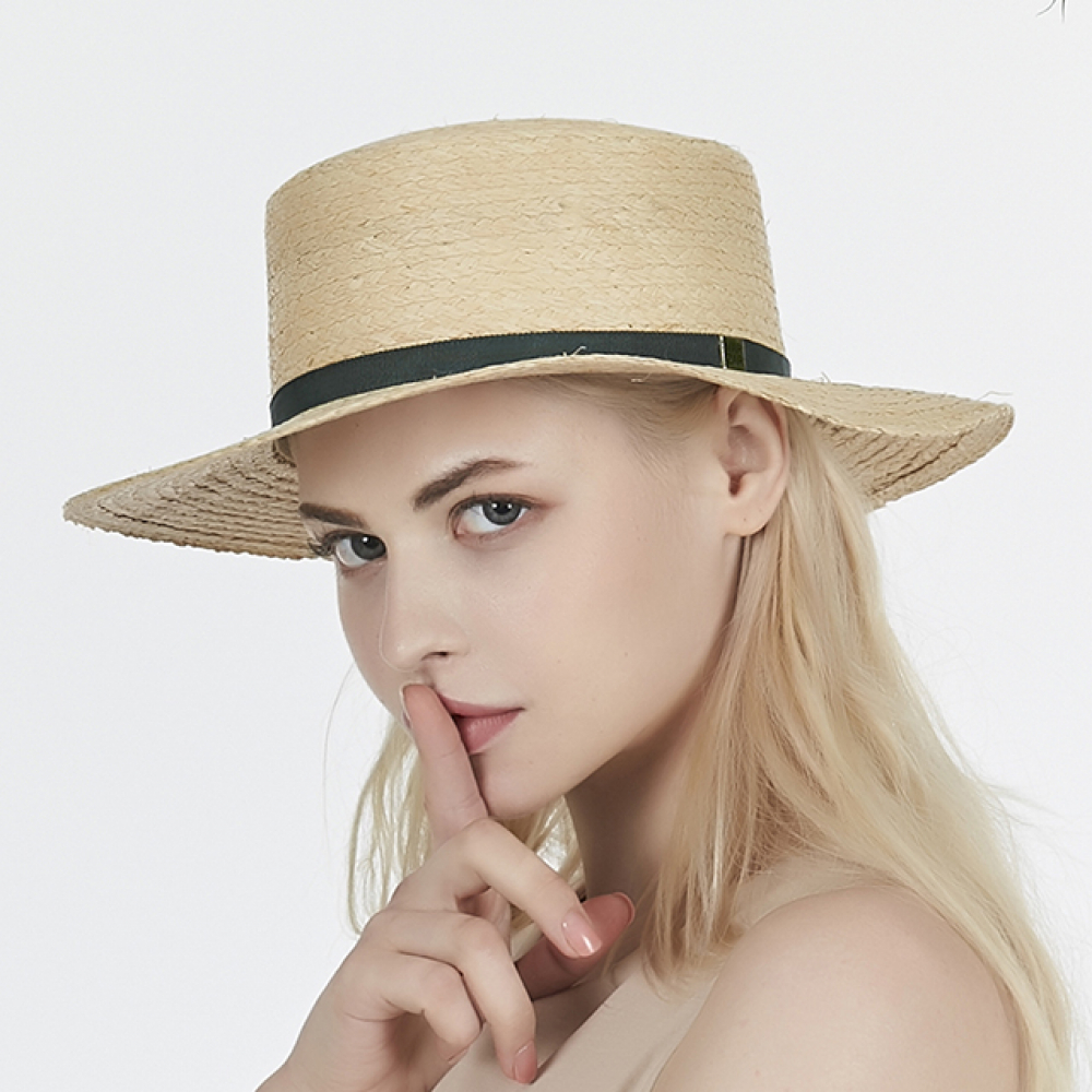 [바잘] Basic raffia boater hat green