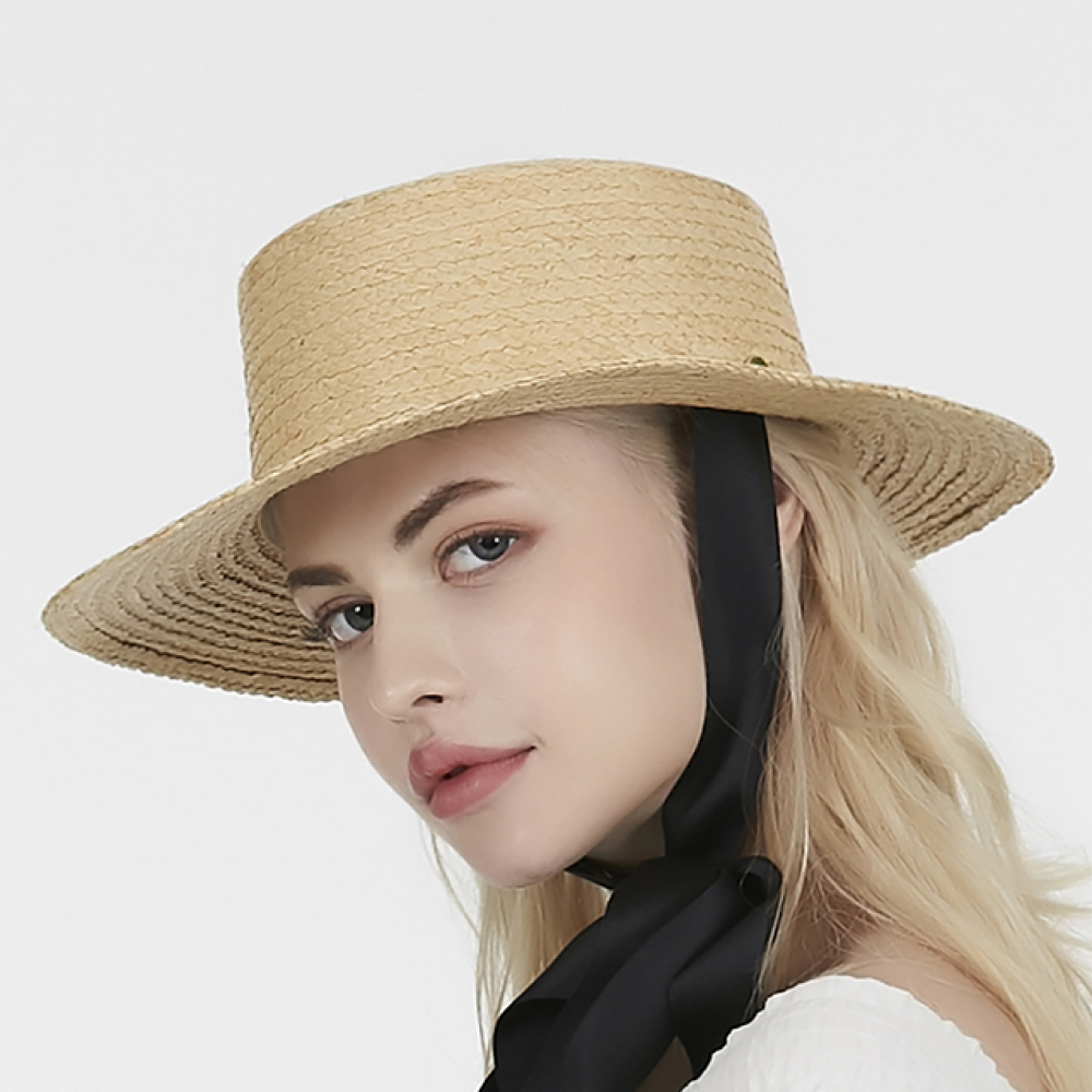 [바잘] Ribbon strap raffia boater hat black