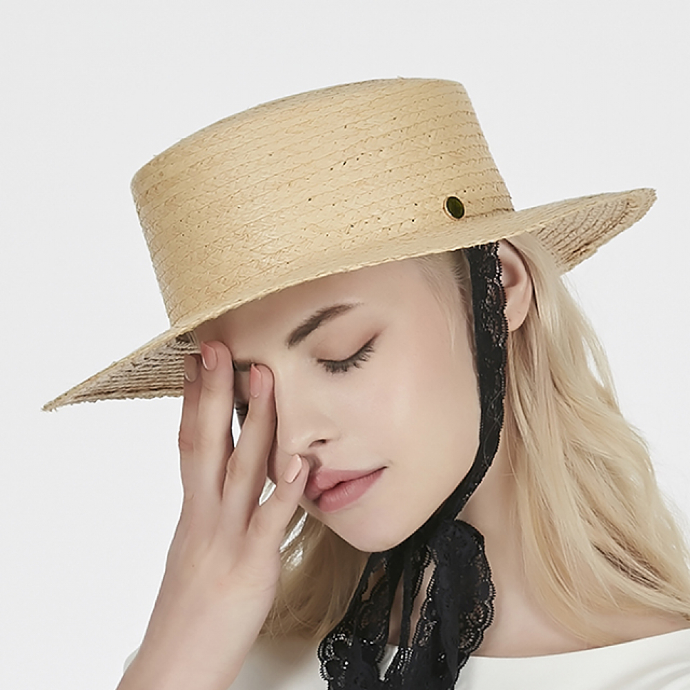 [바잘] Lace strap raffia boater hat black