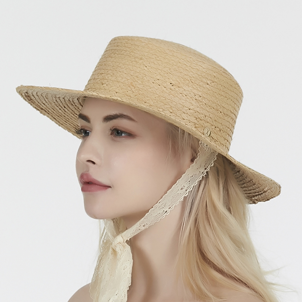 [바잘] Lace strap raffia boater hat white