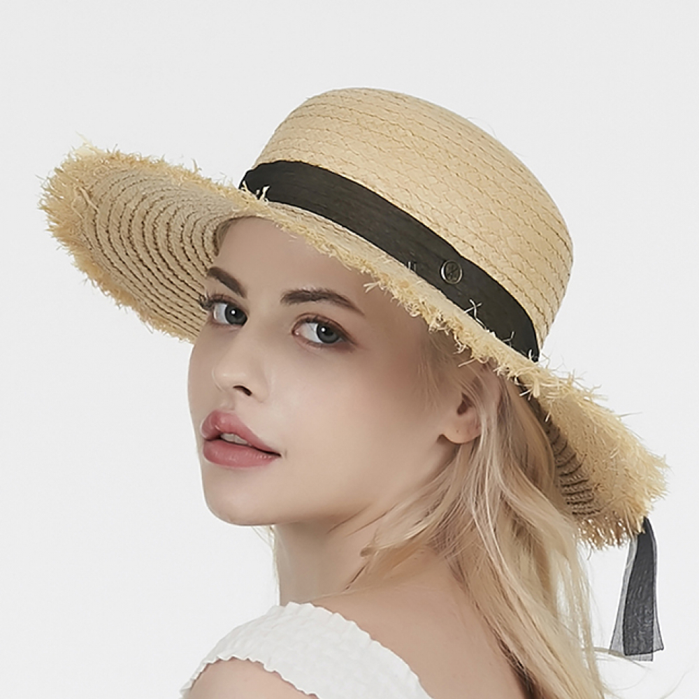 [바잘] Pure natural raffia hat black