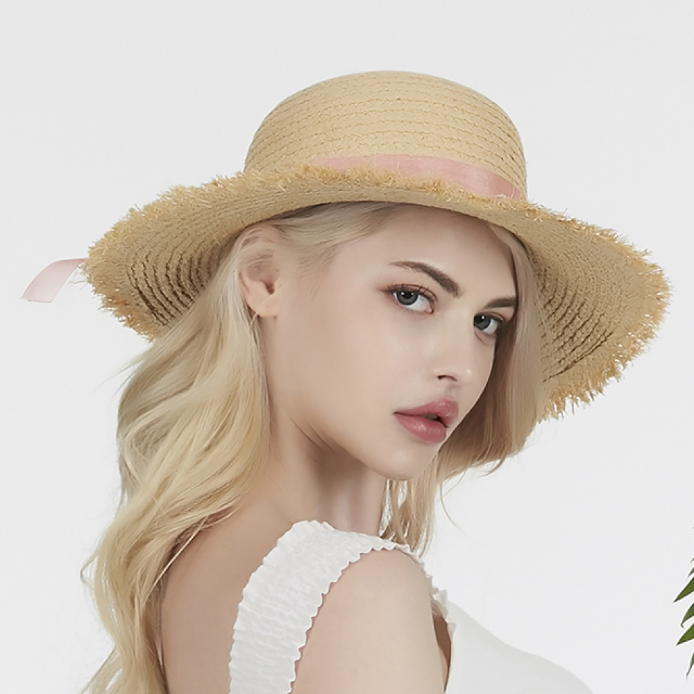 [바잘] Pure natural raffia hat baby pink