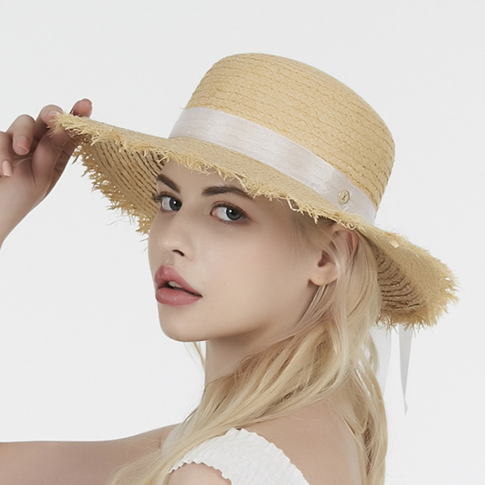 [바잘] Pure natural raffia hat white