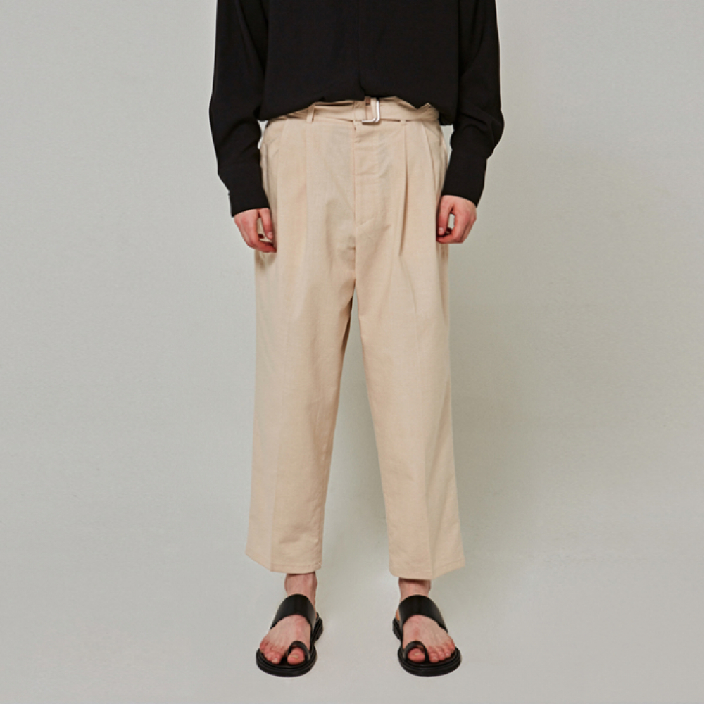 [얀써틴] WIDE BT COTTON PANTS_LIGHT BEIGE