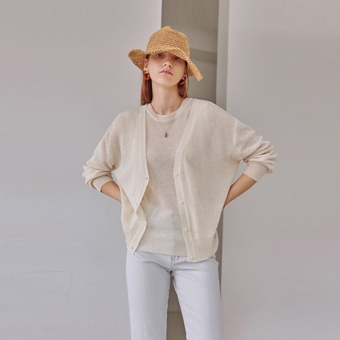 [DEANS] MESH KNIT+CARDIGAN SET_CREAM