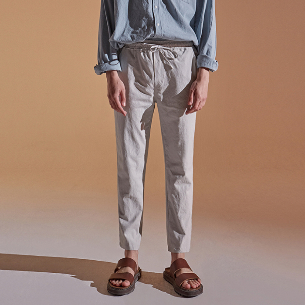 [DEANS] BANDING TAPERED COTTON PANTS_LIGHT GRAY
