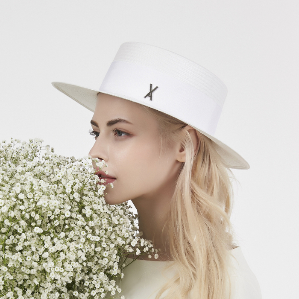 [바잘] Natural paper boater hat white