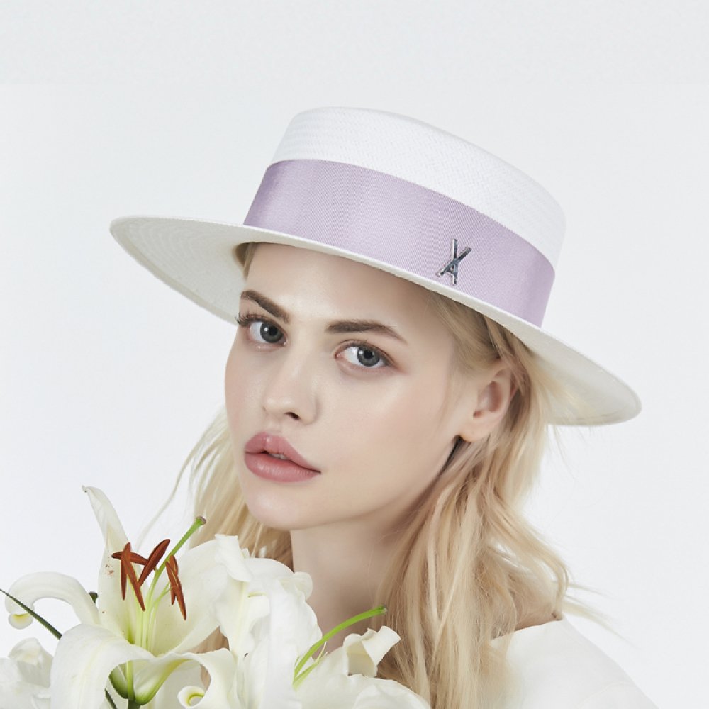 [바잘] Natural paper boater hat purple