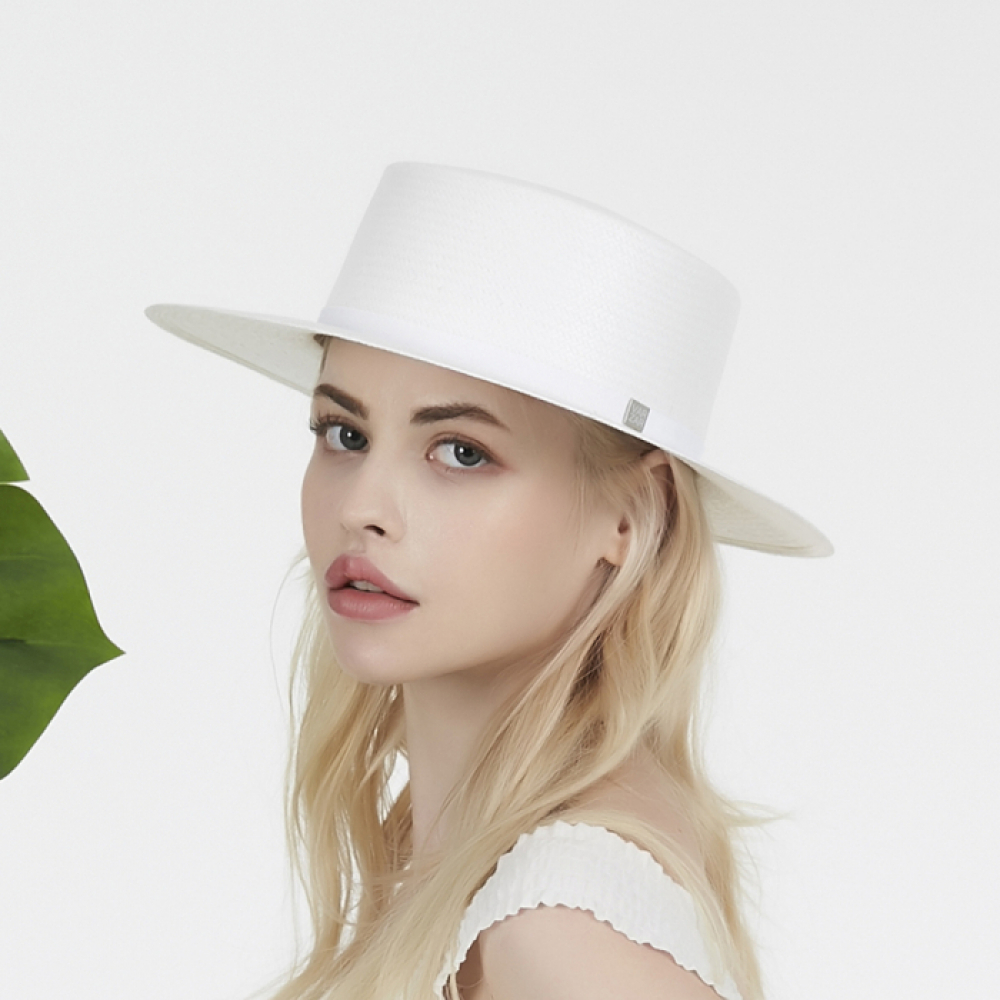 [바잘] Basic paper boater hat white