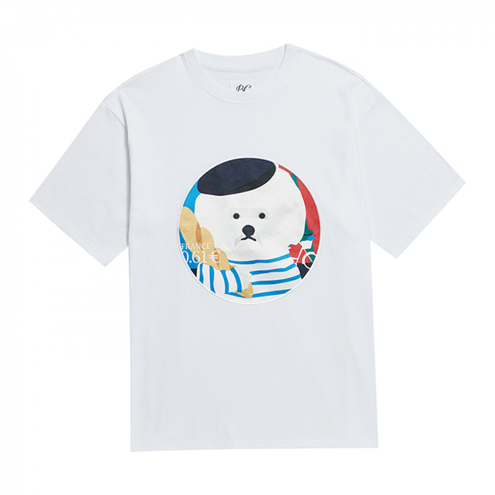 [비욘드클로젯] PARIS DOG PATCH 1/2 T-SHIRTS WHITE