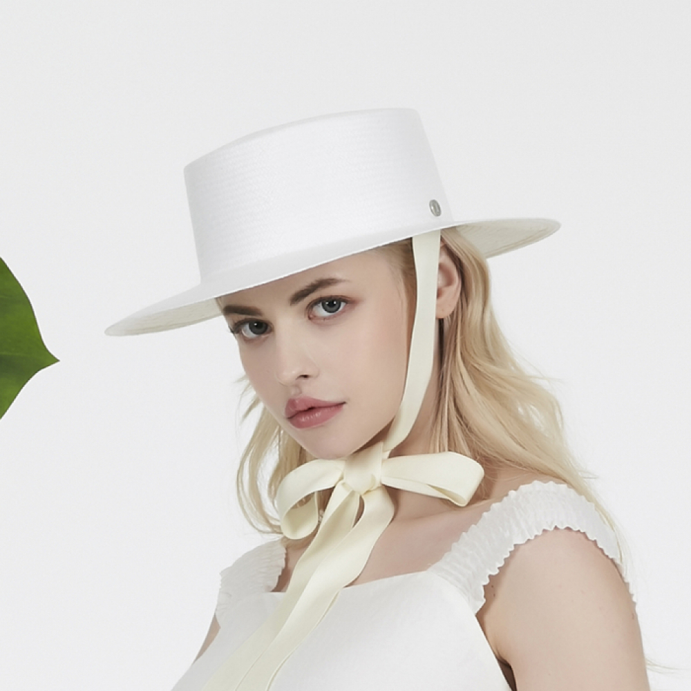 [바잘] Ribbon strap paper boater hat white