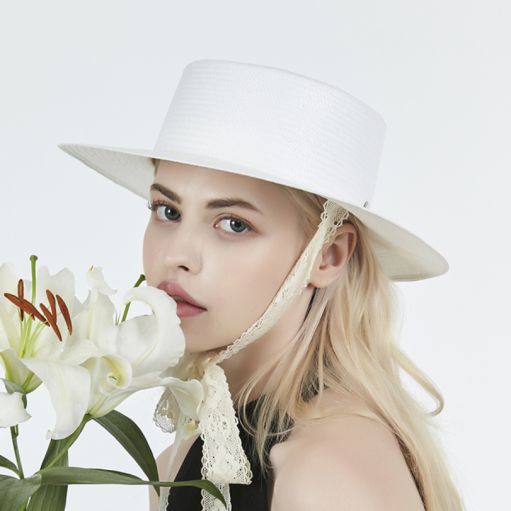 [바잘] Lace strap paper boater hat white
