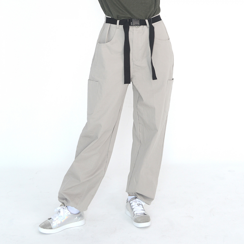 (UNISEX) Buckle Belt Cargo-Pants (LIGHT GREY)