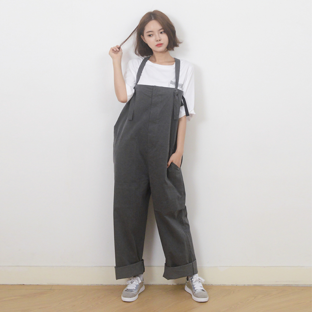 (UNISEX) Wide Overall Pants (BLACK)