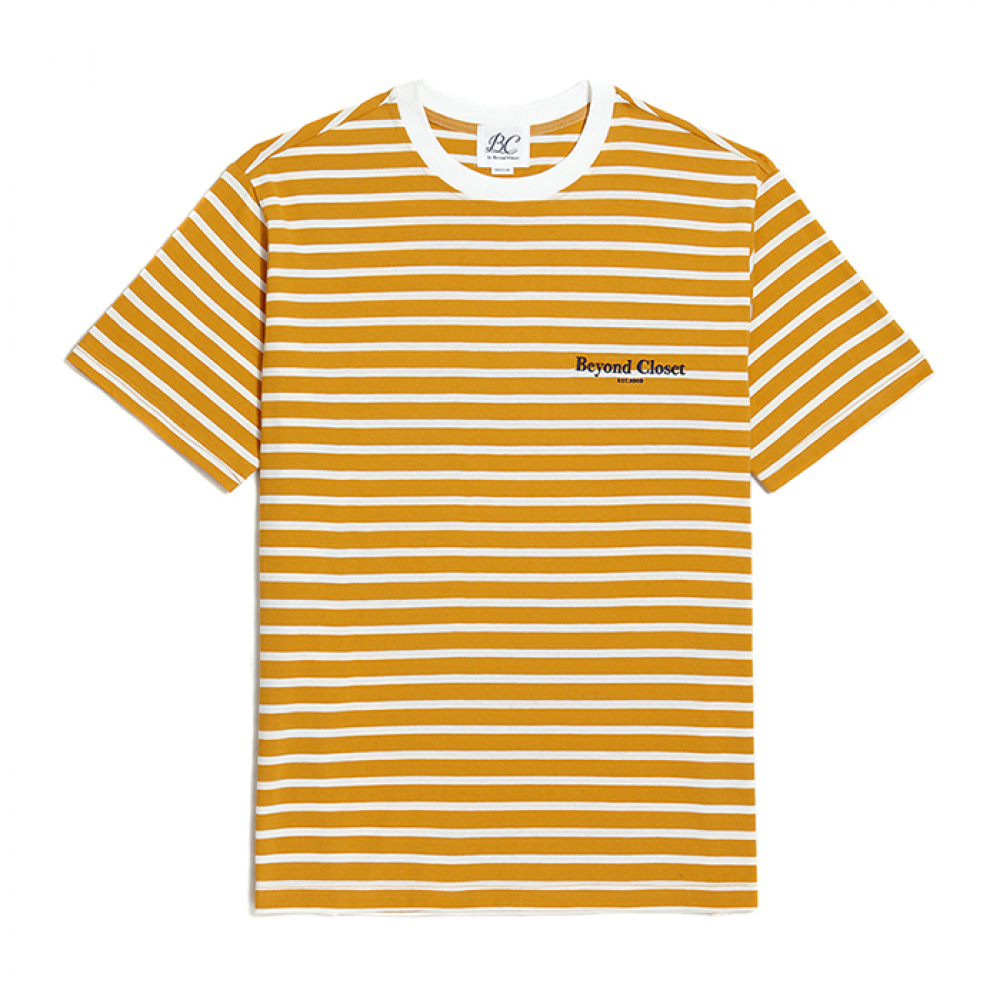 [비욘드클로젯] NEW EDITION LOGO STRIPE 1/2 T-SHIRTS YELLOW
