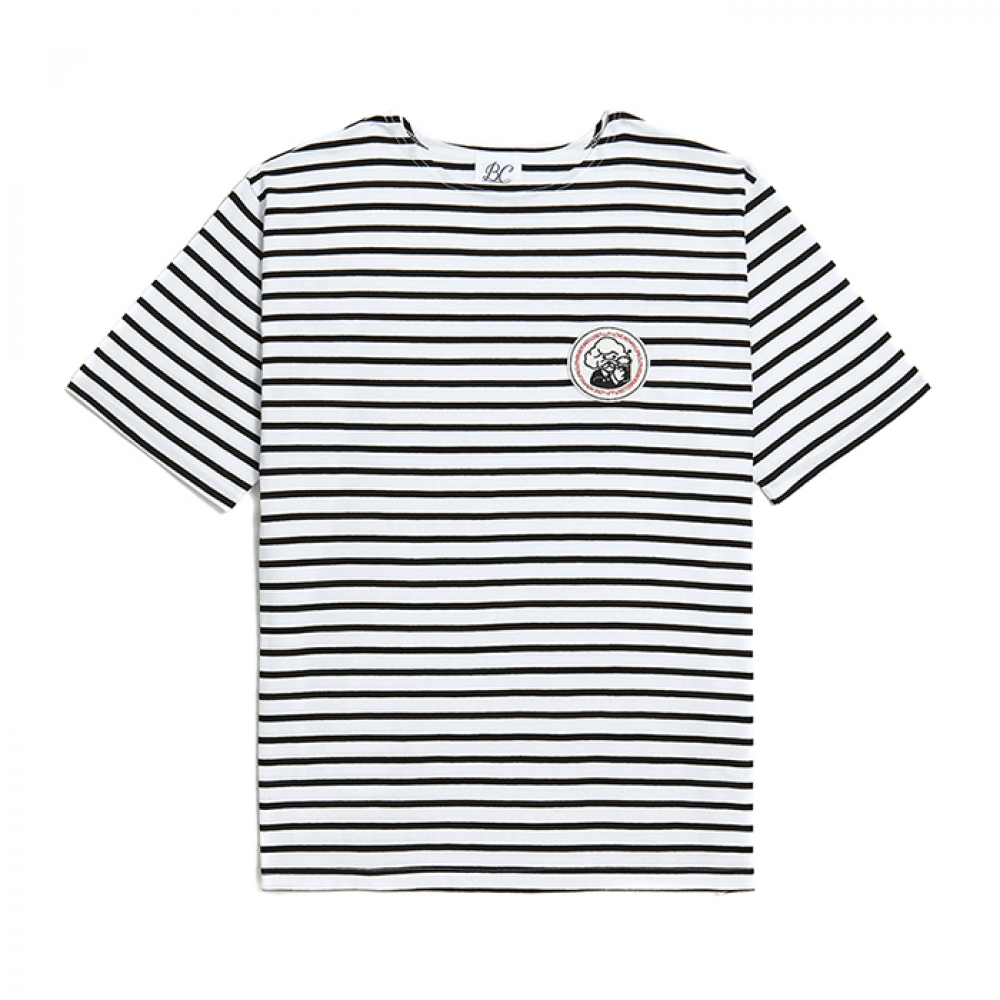 [비욘드클로젯] ILP PINUP DOG WAPPEN STRIPE 1/2 T-SHIRTS BLACK