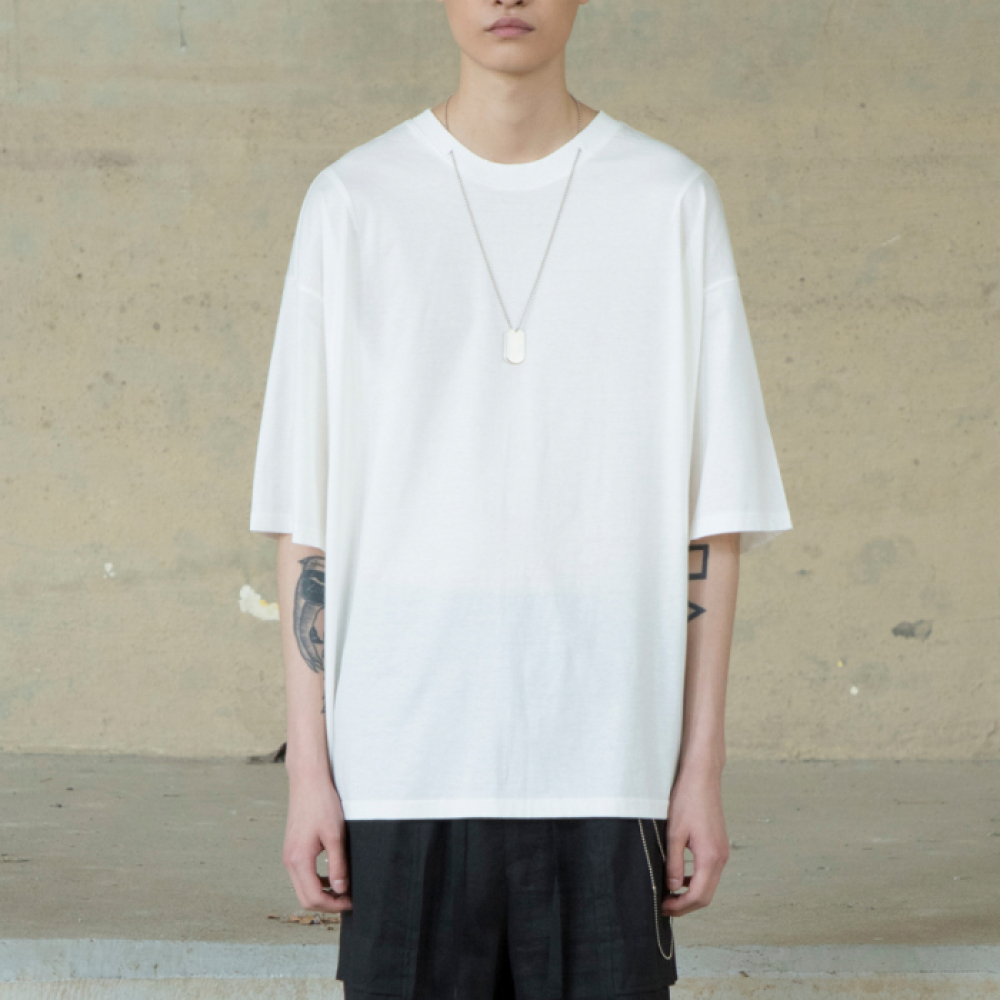 [노이어] Overfit Chain T-shirts WHITE