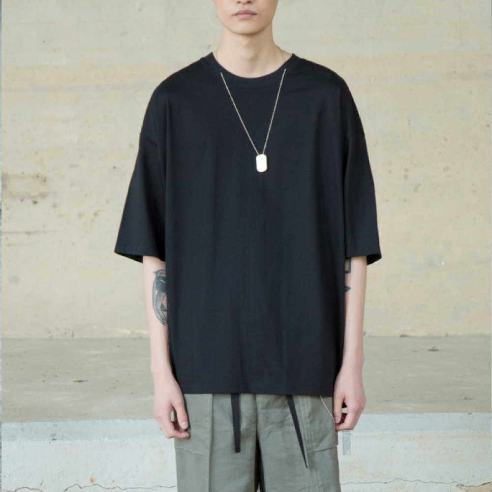 [노이어] Overfit Chain T-shirts BLACK