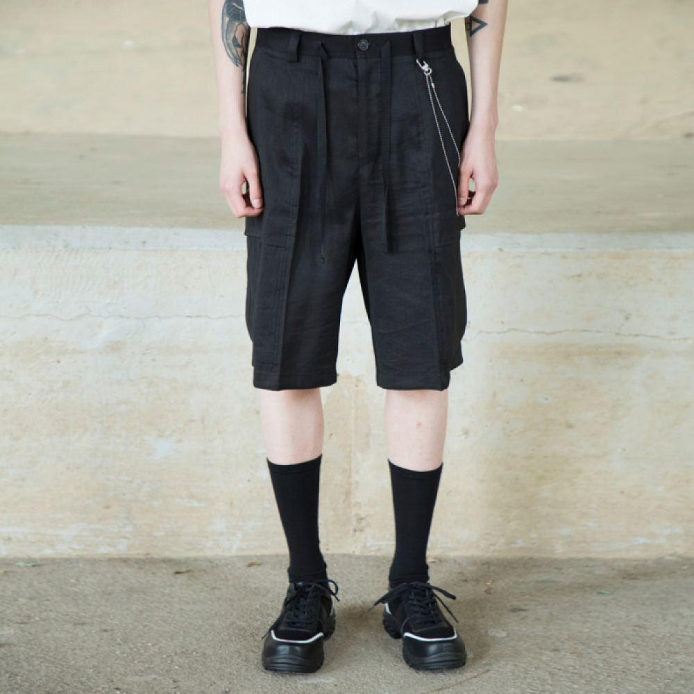 [노이어] Linen Field Half Pants BLACK