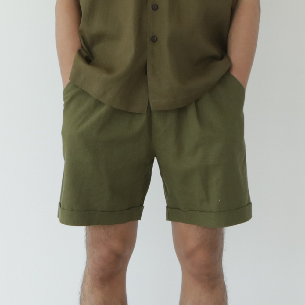 [말렌(malen)] unisex half pants khaki [3color]