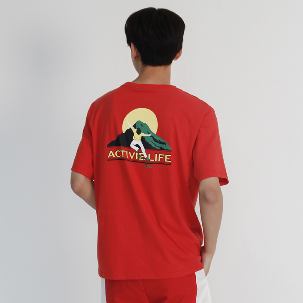 (UNISEX) Active Life- Short Sleeve T-shirt (RED)