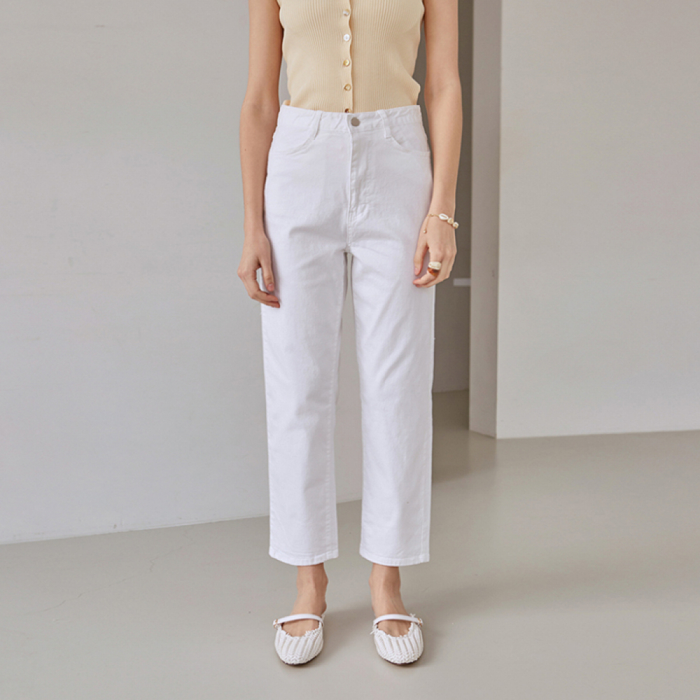 [DEANS] SEMI WIDE STRAIGHT COTTON PANTS_IVORY