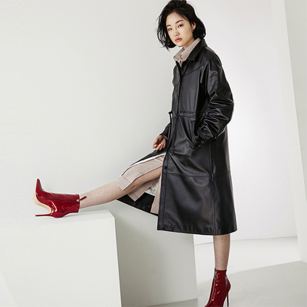 [스페로네] LAMB SKIN SINGLE TRENCHCOAT [BLACK]