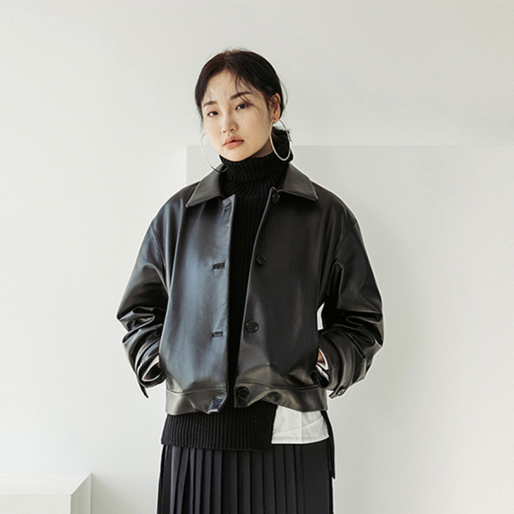 [스페로네] LAMB SKIN SHORT LEATHER JACKET [BLACK]