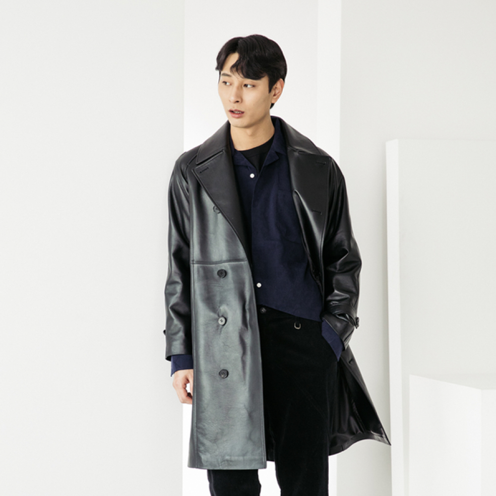 [스페로네] LAMB SKIN Trenchcoat [BLACK]