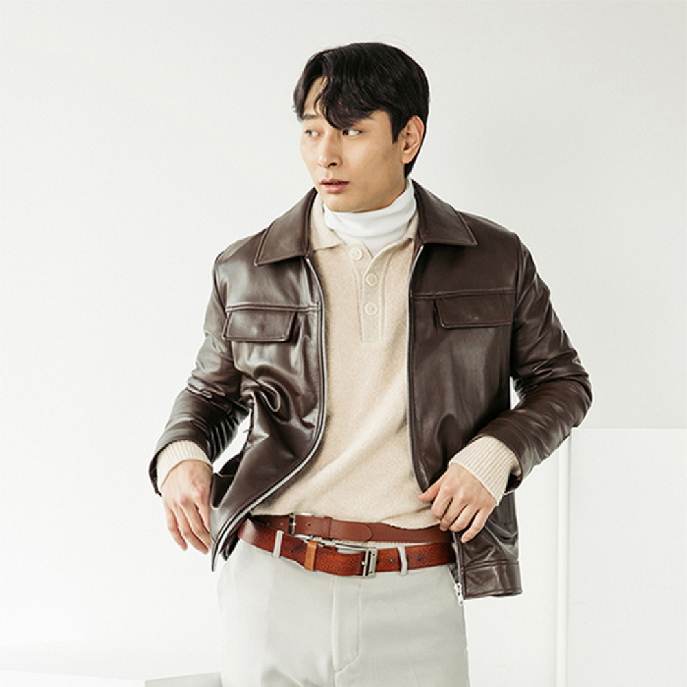 [스페로네]LAMB SKIN POCKET LEATHER JACKET [BROWN]