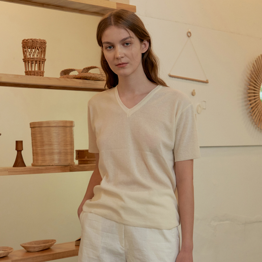 [ARETHAT] Linen Sleeve Knit IVORY
