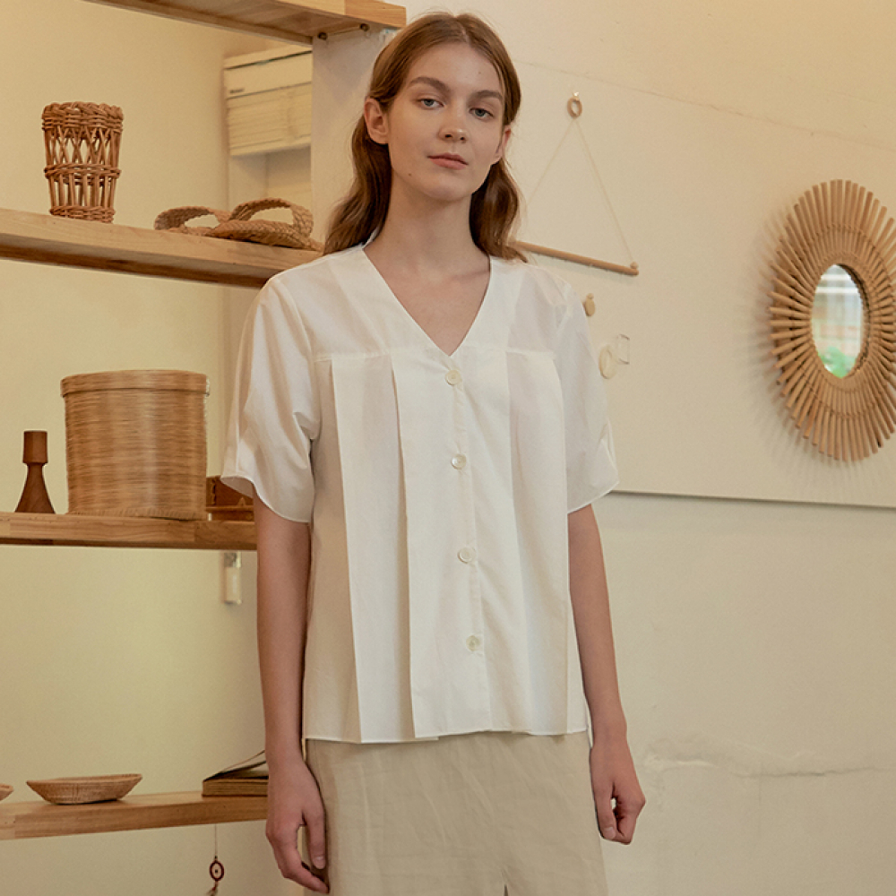 [ARETHAT] Pin-tuck Bloues WHITE
