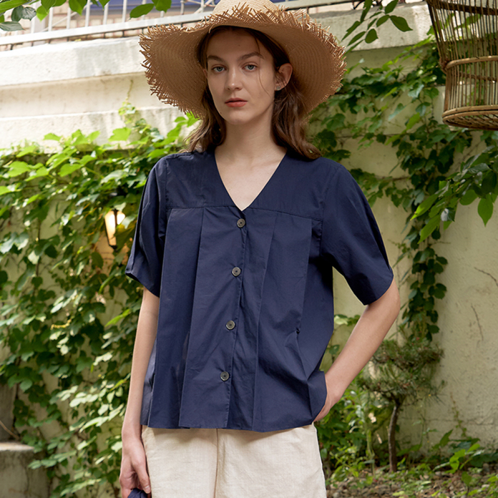 [ARETHAT] Pin-tuck Bloues NAVY